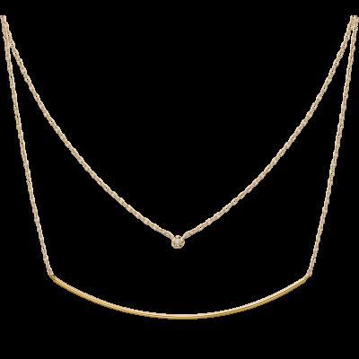 Honey Ball Collection 10K黄金 圆钻弧形双层项链 2699