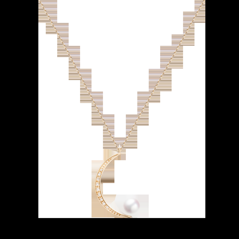 Lune Collection 10K黄金 月亮珍珠项链 4399