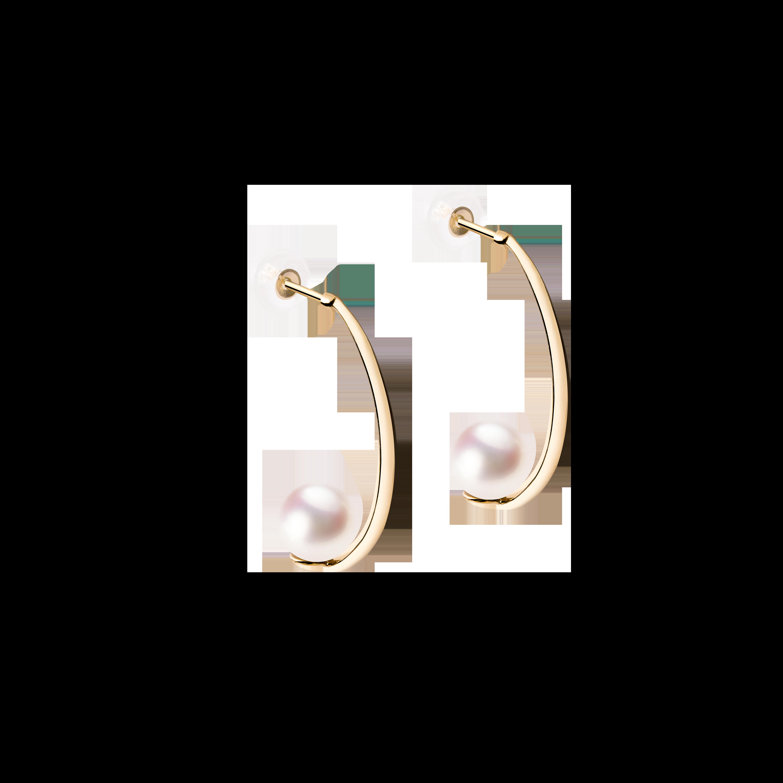 Lune Collection 10K黄金 月亮珍珠耳环 3399