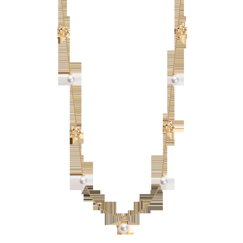 Boule de Noel Collection 18K黄金 Akoya珍珠 钻石长链 13999