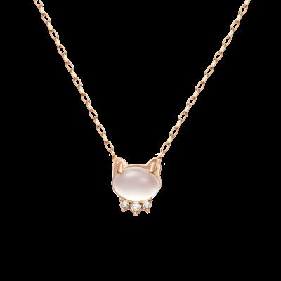 Ms. Cat Collection 10K玫瑰金 月光石镶钻 猫脸项 1699