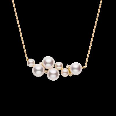Spuma Collection 18K黄金不规则7颗Akoya珍珠镶钻 项链 6699