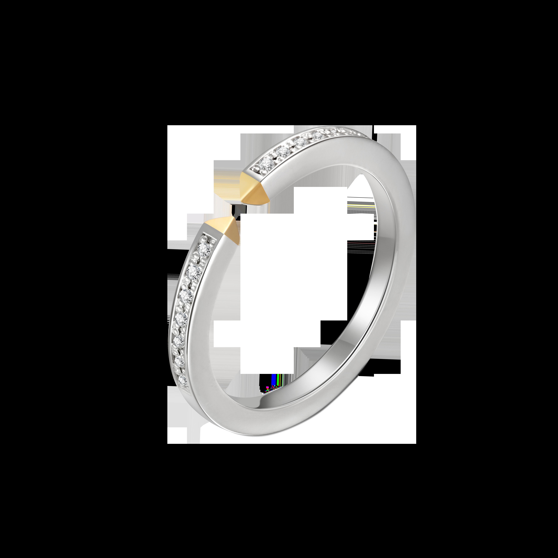 Fashion Lover Collection 18K白黄金连接钻石对戒-女款 5999