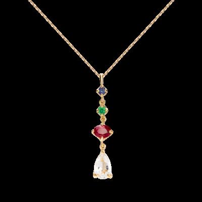 第一件珠宝 蜕变 Collection 18K黄金 彩宝吊坠一字项链 (切割版) 5999