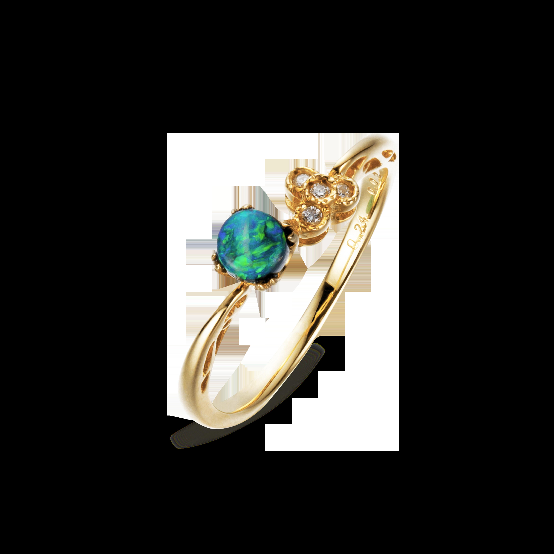 Precious Collection 18K黄金 黑欧泊镶钻 戒指(周迅款)5999