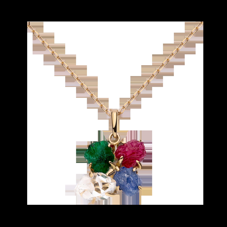 第一件珠宝 蜕变 Collection 18K黄金 彩宝四合一吊坠项链 (原石版) 5999