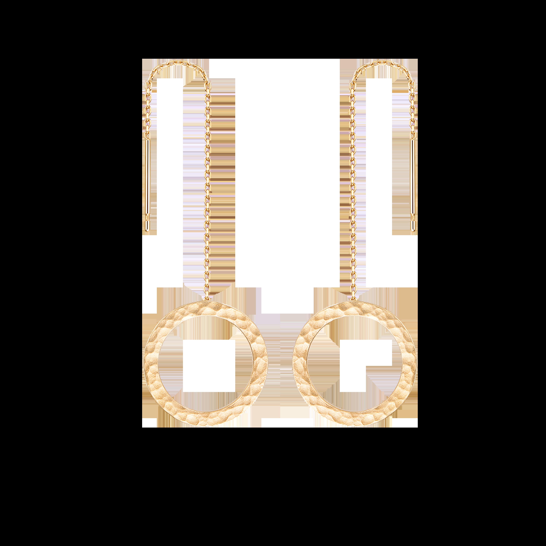 Martelage Collectiob 10K黄金 锤目纹圆形耳环 2699
