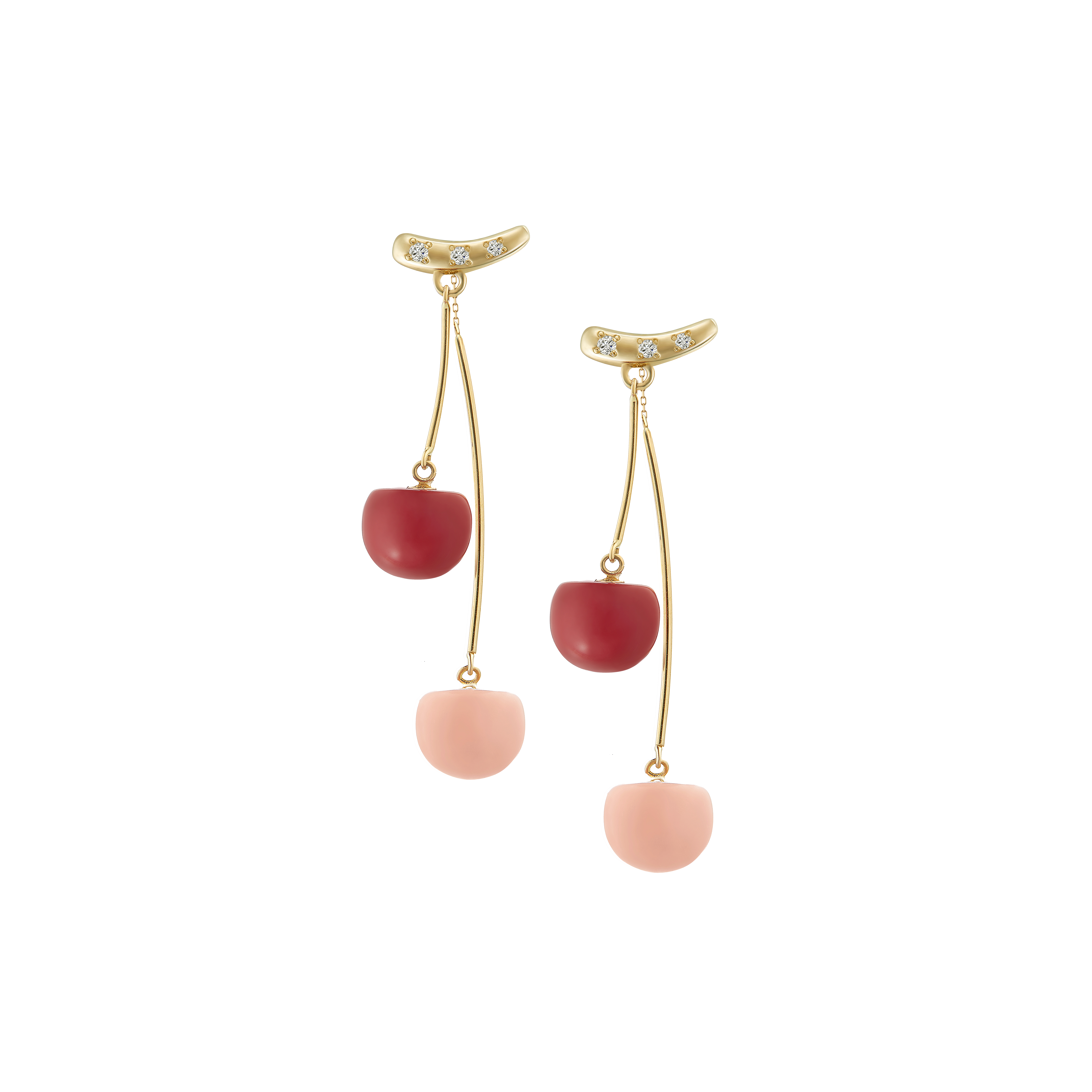 Coral Fruit Collection 10K黄金耳环-Cherry 6399