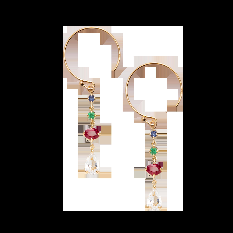 第一件珠宝 蜕变 Collection 18K黄金 彩宝一字耳环 (切割版) 6399