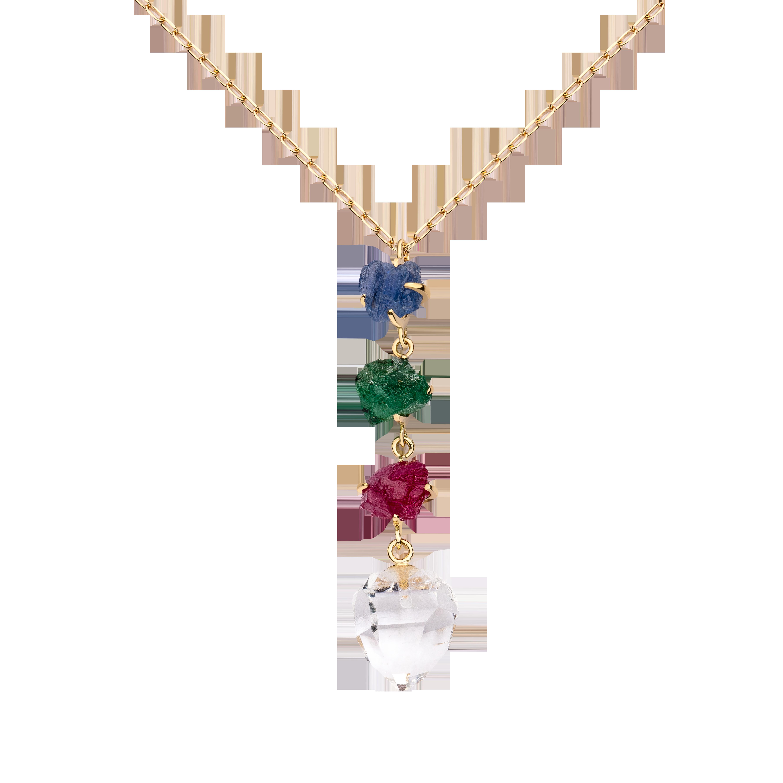 第一件珠宝 蜕变 Collection 18K黄金 彩宝吊坠一字项链 (原石版) 5999