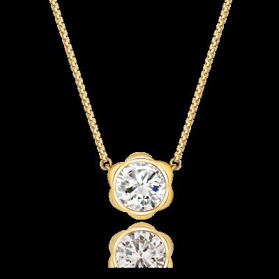 Magnolia Collection 18K黄金 单钻项链2 (10分钻 :¥3699 : 20分钻:¥5799 : 30分钻:¥8199)